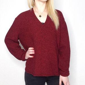 Eileen Fisher Merino Wool Marled Maroon Sweater
